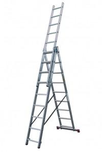 Лестница трехсекционная алюминиевая бытовая KRAUSE Corda 3*10 ступеней