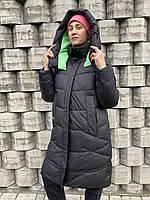Пуховик пальто куртка парка зимняя тёплая длинная чёрный батальон большого размера женский оверсайз одеяло