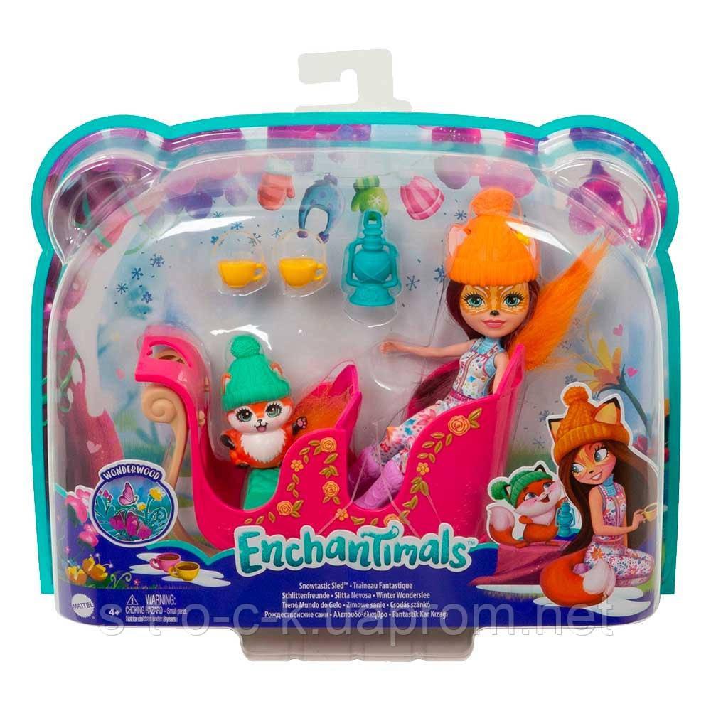 """Игровой набор Enchantimals """"Рождественские сани"""" Mattel GJX31"""