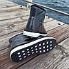 Черные короткие угги низкие дутики женские непромокаемые силиконовые для дождя, фото 4
