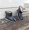 Черные короткие угги низкие дутики женские непромокаемые силиконовые для дождя, фото 3