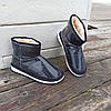 Черные короткие угги низкие дутики женские непромокаемые силиконовые для дождя, фото 6