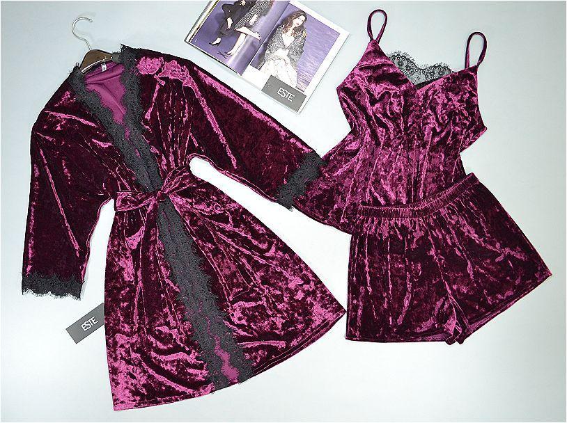 Велюровый халат и пижама (майка шорты) ТМ Este. Комплект домашней одежды.