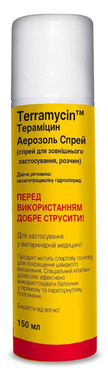 ТЕРАМИЦИН СПРЕЙ для лечения бактериальных инфекций, паразитарных дерматитов у собак, кошек, кроликов, 150 мл