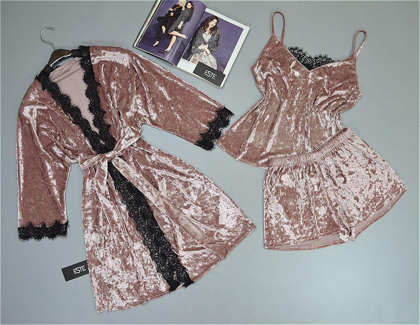 Халат велюровий і піжама (футболка шорти) ТМ Este. Комплект домашньої одягу.