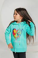 Детский свитшот для девочки Modniki 3-6 лет зима Like бирюзовый