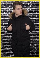 Парка зимняя мужская с мехом, теплая молодежная куртка черная