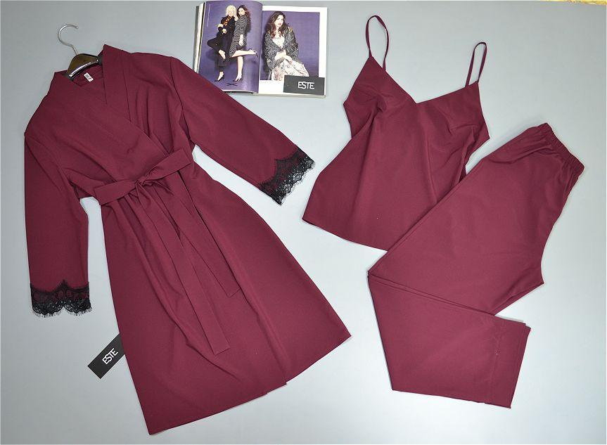Комплект тройка халат и пижама ( майка+штаны)  Este 206-200 вишня.