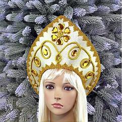 Кокошник корона с узорами золото