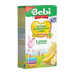 Безмолочна каша Bebi Premium 5 злаків з бананами, 6+, 200г