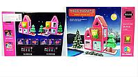 Магнитный конструктор Новогодний домик,свет,магнітний конструктор