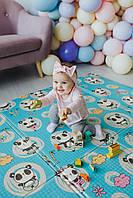 Ковер детский безворсовый 180*200*1 см Панды/нежные мишки