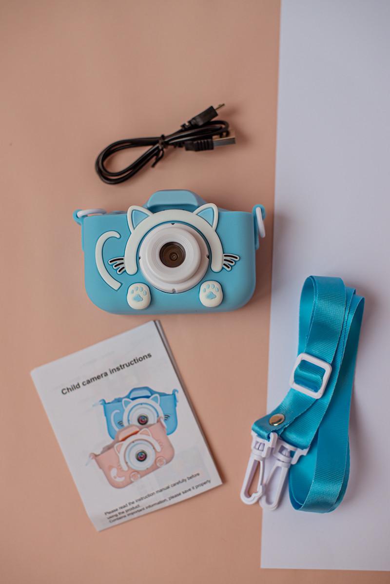 Цыфровой детский фотоаппарат 20 Мп Children's fun в чехле Голубой котик
