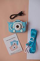 Цыфровой детский фотоаппарат 20 Мп Children's fun в чехле Голубой котик, фото 1
