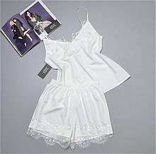 Пижама на утро невесты комплект майка шорты с кружевами  Este 212 белый.