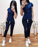 Чудесный молодежный трикотажный женский комплект, летний спортивный костюм, удобная одежда на лето
