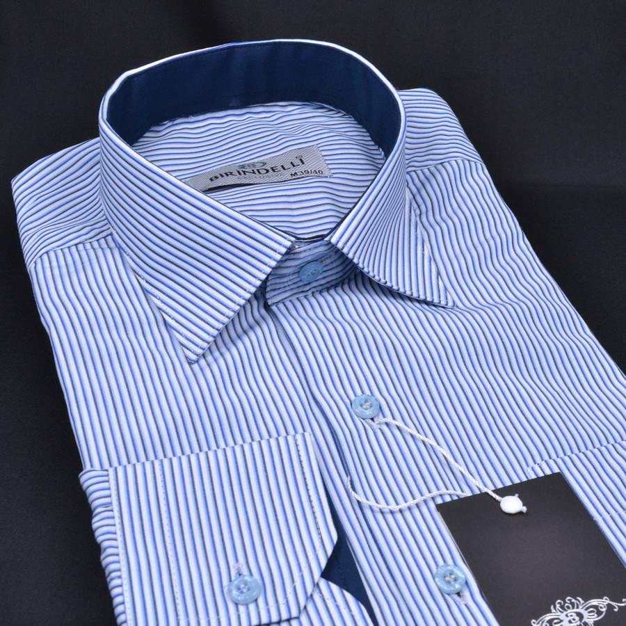 Сорочка чоловіча, прямого крою з довгим рукавом Birindelli 03-259 80% бавовна 20% поліестер L(Р)