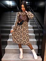 Шикарное платье с цветами и кожаным топом