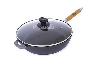 Сковорода чугунная матовое покрытие 26 см Биол с крышкой и ручкой 0326ЕЛ