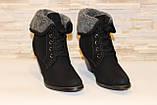 Ботильйони жіночі зимові чорні на підборах С515, фото 3