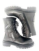 Зимние ботинки женские на шнуровке черные ботинки высокие на шнуровке натуральная кожа