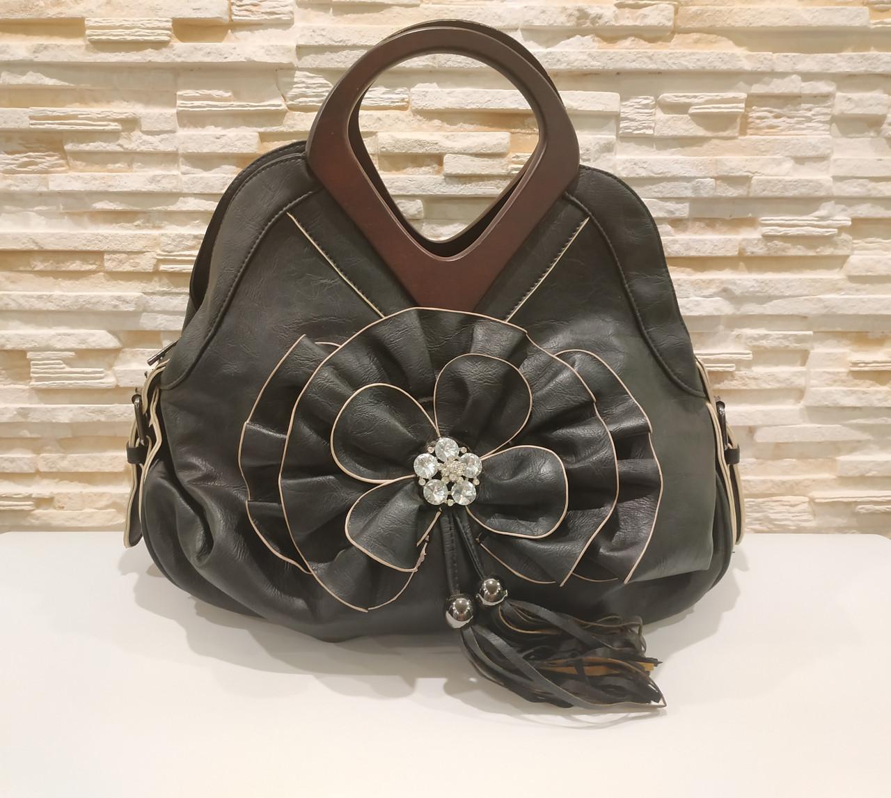 Жіноча чорна сумка з квіткою код 12-11642 Уцінка