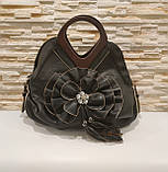 Жіноча чорна сумка з квіткою код 12-11642 Уцінка, фото 2