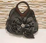 Жіноча чорна сумка з квіткою код 12-11642 Уцінка, фото 3