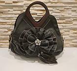 Жіноча чорна сумка з квіткою код 12-11642 Уцінка, фото 4