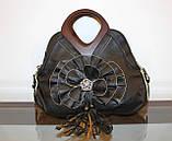 Жіноча чорна сумка з квіткою код 12-11642 Уцінка, фото 5