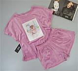 Пижама женская велюровая  Este футболка и шорты с рисунком., фото 2