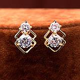 Комплект украшений цепочка с кулоном и серьги с цирконами код 933, фото 2
