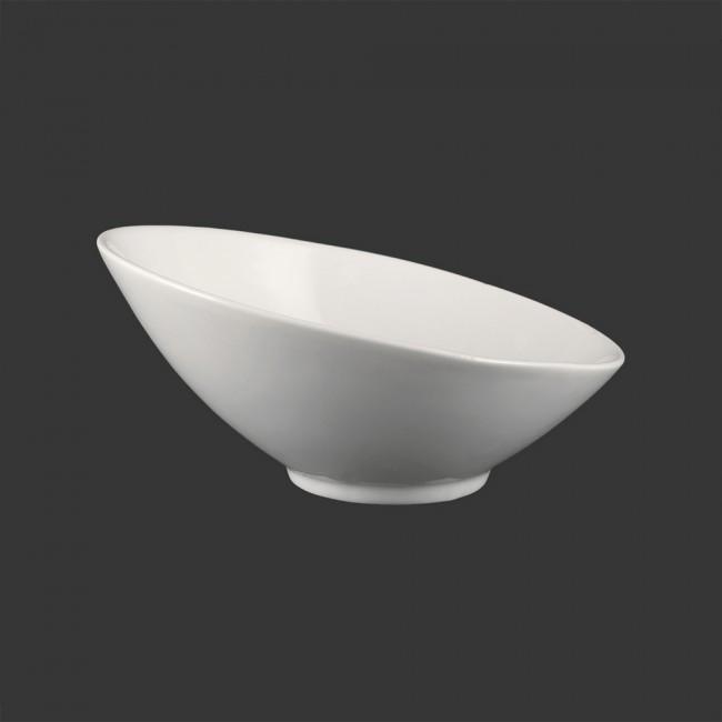 Салатник скошенный фарфоровый белый 200мм