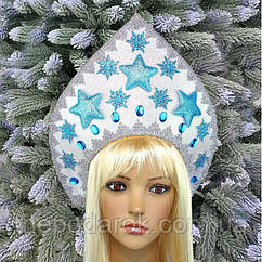 Кокошник корона бело-голубая