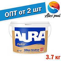 Aura Dekor Silikon Struktur 3,6 кг, біла акрилатна Фарба структурна біла для внутрішніх і зовнішніх робіт