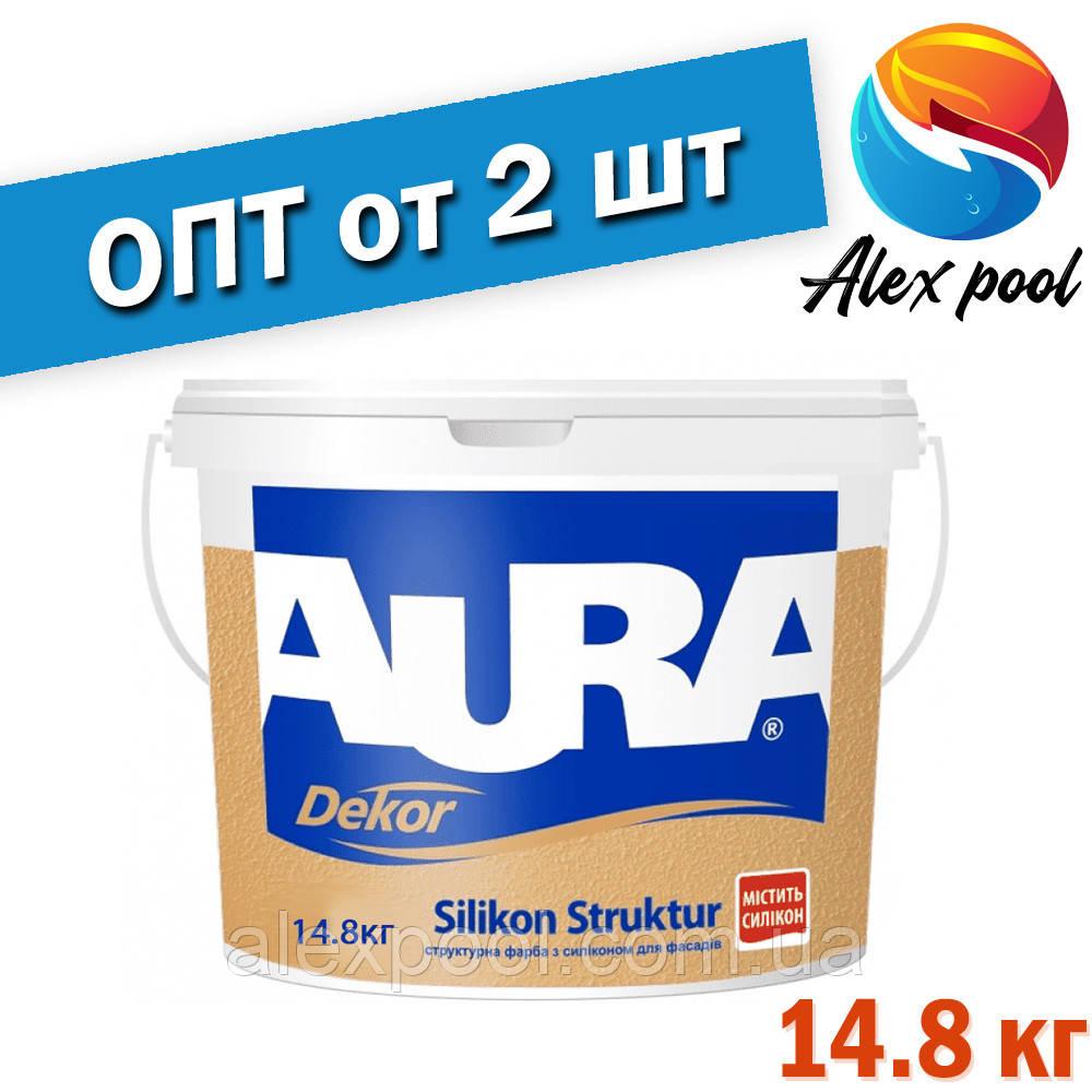 Aura Dekor Silikon Struktur 14,8 кг, белая - Акрилатная краска белая структурная готовая к применению