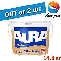 Aura Dekor Silikon Struktur 14,5 кг, біла - Акрилатна фарба біла структурна готова до застосування