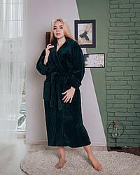 Длинный женский махровый халат бутылочного цвета, размер S- 6XL