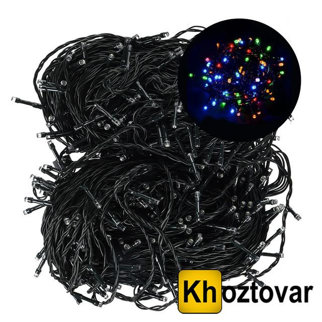 Новорічна гірлянда   Чорний дріт   100 ламп   10 м