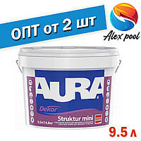 Aura Dekor Struktur mini Біла 9,5 л Структурна акрилатна фарба для нанесення валиком, готова, колерується