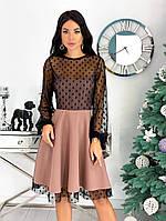 Женское красивое платье с отделкой из сетки в горошек 42 - 48 рр