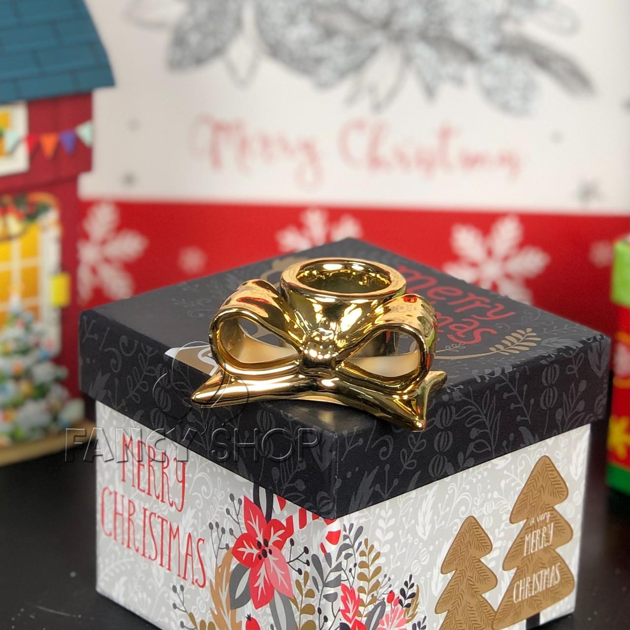 """Підсвічник новорічний """"Бант"""", золотий, 6 см, Новогодний подсвечник """"Бант"""" 727-210"""