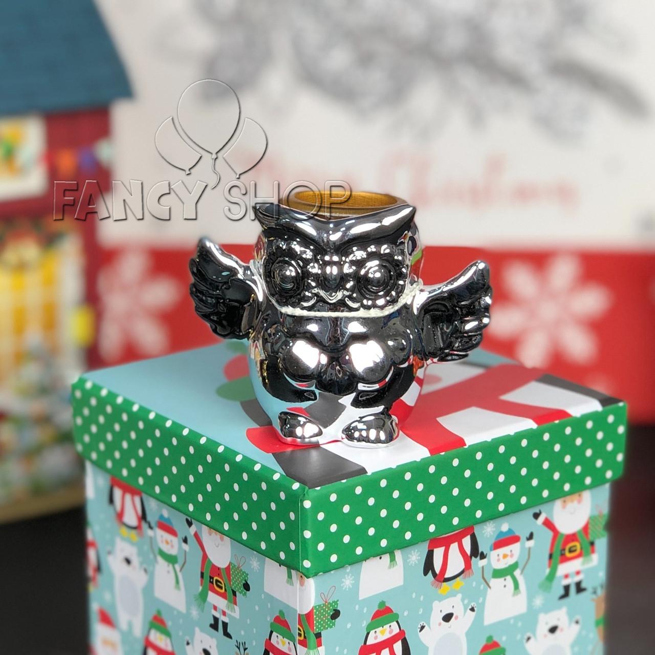 """Підсвічник новорічний """"Сова"""", срібний, 7 см, Новогодний подсвечник """"Сова"""" 727-334"""