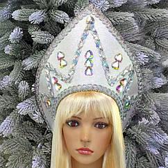 Кокошник Снежная королева серебро