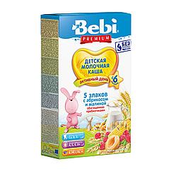 Молочна каша Bebi Premium 5 злаків з абрикосом і малиною, 6+, 200г