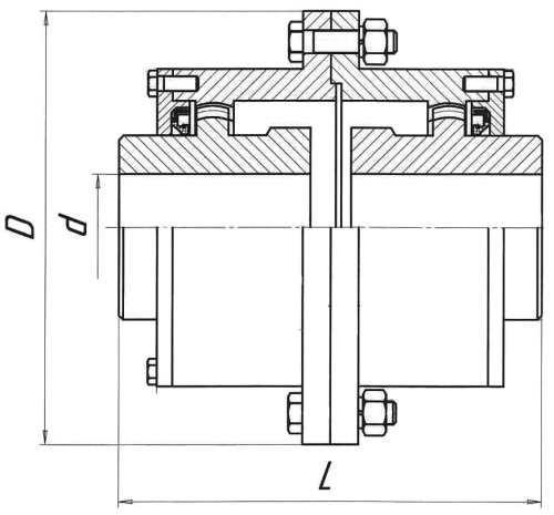 Чертеж-схема зубчатой муфты МЗП