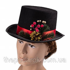 Шляпа Новогодняя цилиндр черный
