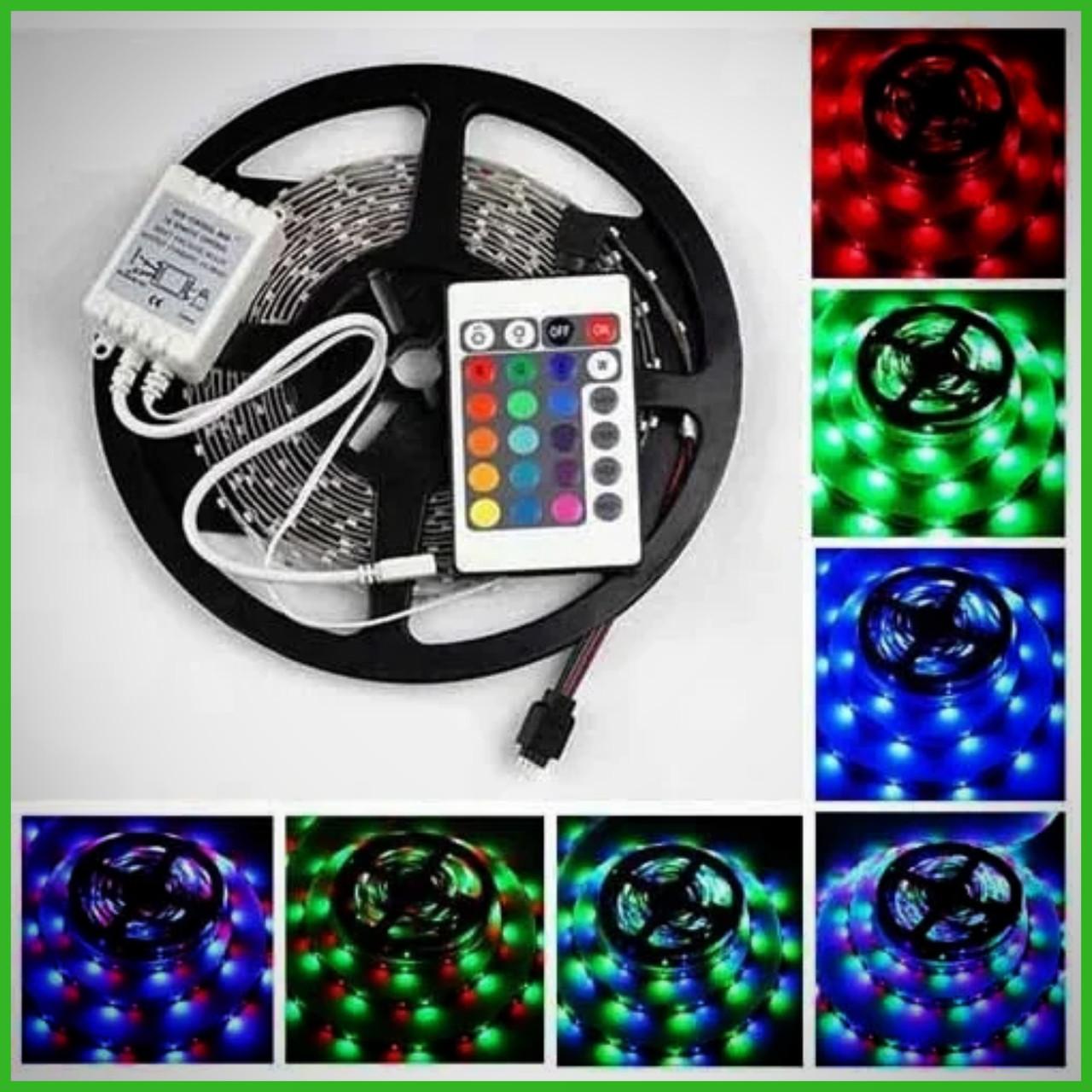 Світлодіодна LED стрічка 3528 RGB Всі кольори 12V кольорова 5м + пульт + блок