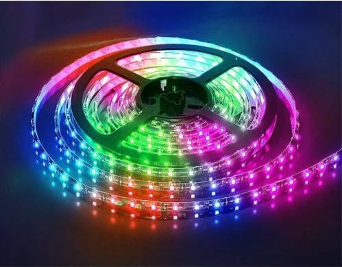 Світлодіодна LED стрічка 3528 RGB Всі кольори 12V кольорова 5м + пульт + блок, фото 2