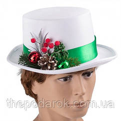 Шляпа Новогодняя цилиндр белый